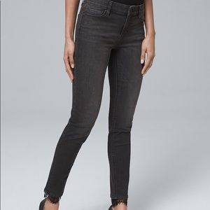 WHBM Classic-Rise Lace-Hem Skinny Ankle Jeans NWOT